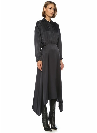 Beymen Collection Beymen Collection  Asimetrik Midi Gömlek Elbise 101510803 Lacivert